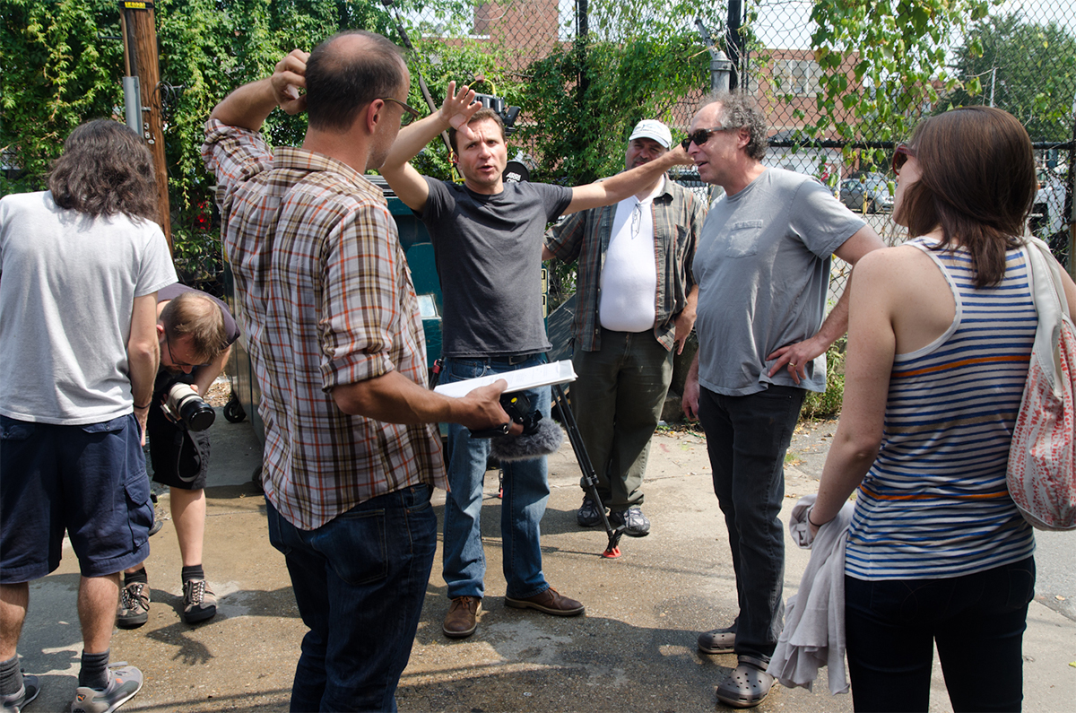 Christoph on set, directing, leading the crew of filmmakers